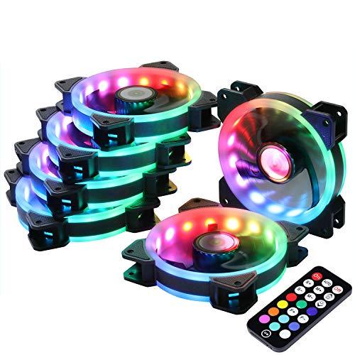 Ubanner DS Ventola per Telaio Serie RGB, Ventola RGB LED 120mm Wireless, Ventola per Telaio LED a Colori Regolabili ad Alto Flusso d'Aria Quiet Pack 6 Pezzi,LED Fans
