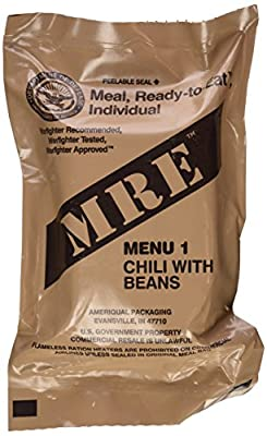 Chili with Beans MRE Meal - Genuine US Military Surplus Inspection Date 2020 and Up