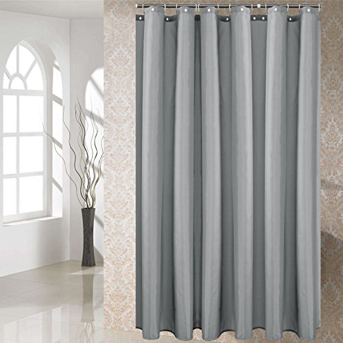 YUUNITY Shower Curtain Polyester Fabric Washable Waterproof Eco-Friendly Washable Hotel Quality, 72' x 80', (Grey 72x80)