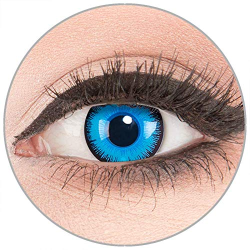 Farbige Kontaktlinsen zu Fasching Karneval Halloween - Topqualität von 'Glamlens' ohne Stärke 1 Paar weiße Crazy Fun 'Alper' Kontaktlinsen mit Behälter