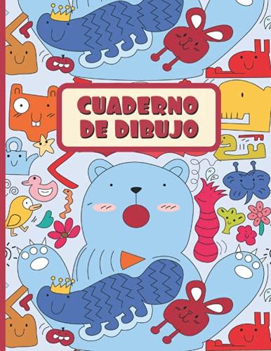 CUADERNO DE DIBUJO: Bloc de 100 paginas en blanco | Libreta infantil para dibujar | Regalo creativo para niños pequeños | Preescolar, Primaria | Lindo diseño de animales.