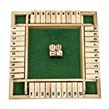 FANXIAOKJ-Shut The Box Dice Game, Classics 4 Sided Large Wooden Board Game (2-4 Players) for Kids and Adults, Smart Game for Learning Numbers, Strategy & Risk, 4 Dice, Shut-The-Box Rules and Gift Box
