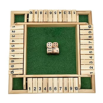 FANXIAOKJ-Shut The Box Dice Game Classics 4 Sided Large Wooden Board Game  2-4 Players  for Kids and Adults Smart Game for Learning Numbers Strategy & Risk 4 Dice Shut-The-Box Rules and Gift Box