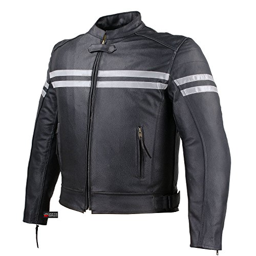 Mens Track Biker Motorcycle Leather CE Armor Moto Riding Racer Black Jacket XL