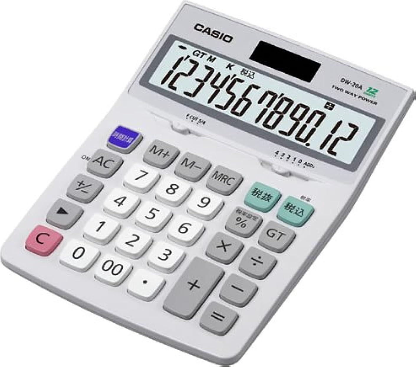 カップル膨らませるなにカシオ スタンダード電卓 時間?税計算 デスクタイプ 12桁 DW-20A-N