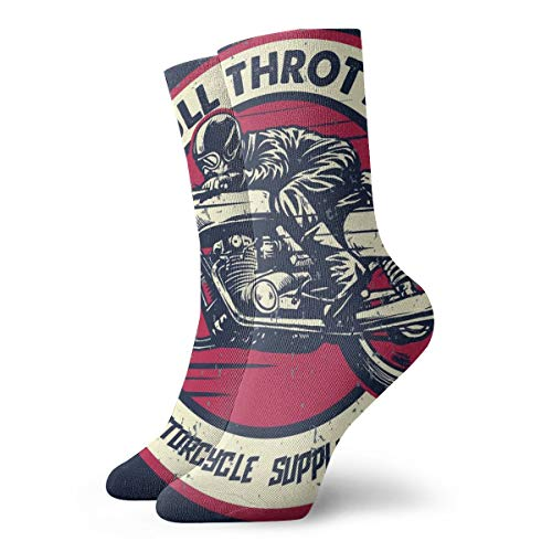 Socken Frauen und Männer Socken Frauen Handzeichnung des Mannes, der eine klassische Café-Rennfahrer-Motorrad-Sportsocke 30 cm reitet