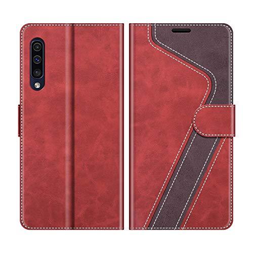 MOBESV Custodia Samsung Galaxy A50, Cover a Libro Samsung Galaxy A50, Custodia in Pelle Samsung Galaxy A50 Magnetica Cover per Samsung Galaxy A50, Elegante Rosso