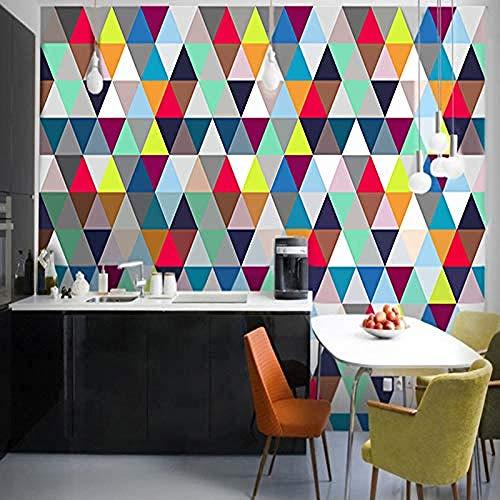 XHXI Modernes minimalistisches buntes geometrisches Dreieck-Kunstdruck-großes Plakat-Wand-Dekor für Wohnzimmer-Sofa Wanddekoration fototapete 3d Tapete effekt Vlies wandbild Schlafzimmer-430cm×300cm