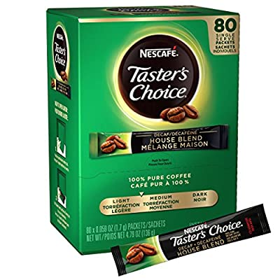 Nescafe Instant Coffee Packets, Decaf, Taster's Choice Light Roast, 1.7 g Singles (Pack of 80)