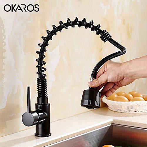 Verlaging van de keukenkraan messing zwart gebrand in universele oven, eengreepsmengkraan van de pan koud water mengkraan China
