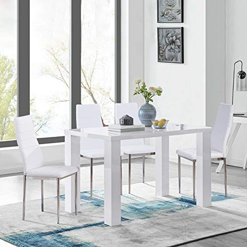 GOLDFAN White High Gloss Dining Table and Chairs Set 4 Modern Rectangular Kitchen Table and Faux Leather Chairs for Dining Room Office Lounge