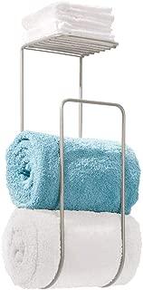 mDesign Modern Metal Wall Mount Towel Rack Holder and Organizer with Storage Shelf for Bathroom Organizing of Washcloths, Hand/Face or Bath Towels, Beach Towels - Satin