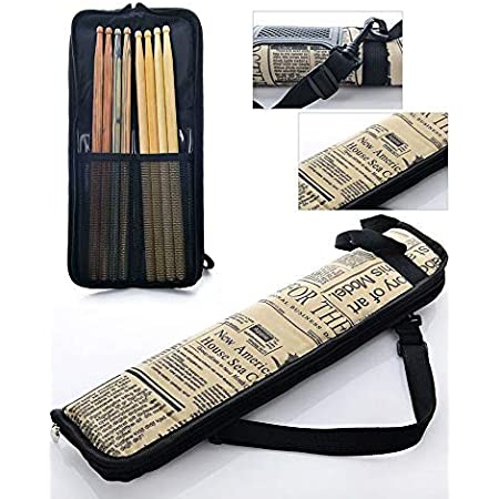 Checkered Flexzion Drumsticks Gig Bag Percussion Music Accessory Case w//a Hook Kid Drummer Water-Resistant Fabric Carrying Handle /& Card Holder for 4 Pairs of Drumstick Adjustable Shoulder Strap