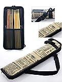 Standard Drum Stick/Mallet Bag with External Pocket Weather Resistant Fabric Drumstick Case Cover