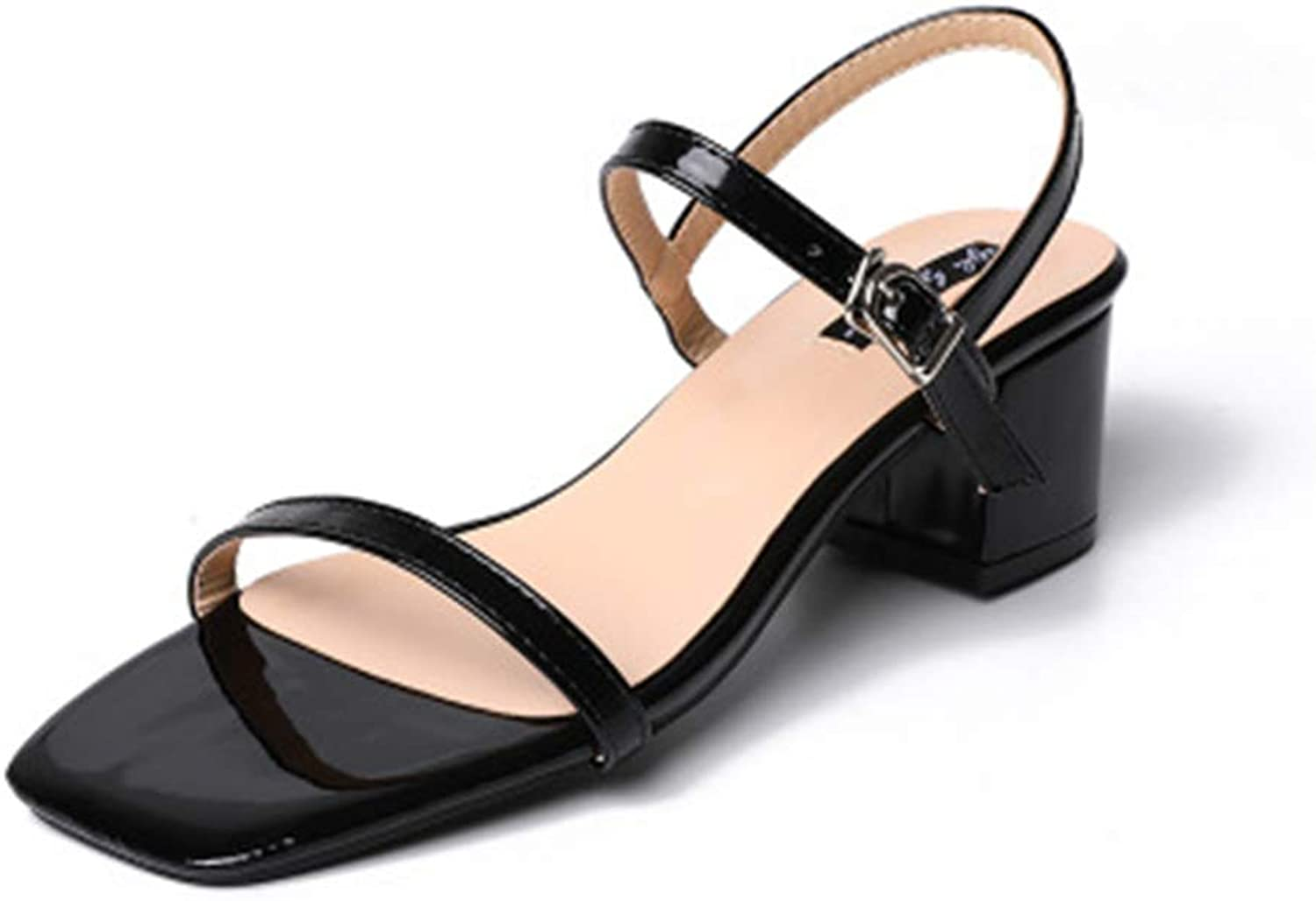 Duduxiaomaibu Women's High Chunky Heel Buckle Ankle Strap Sandals