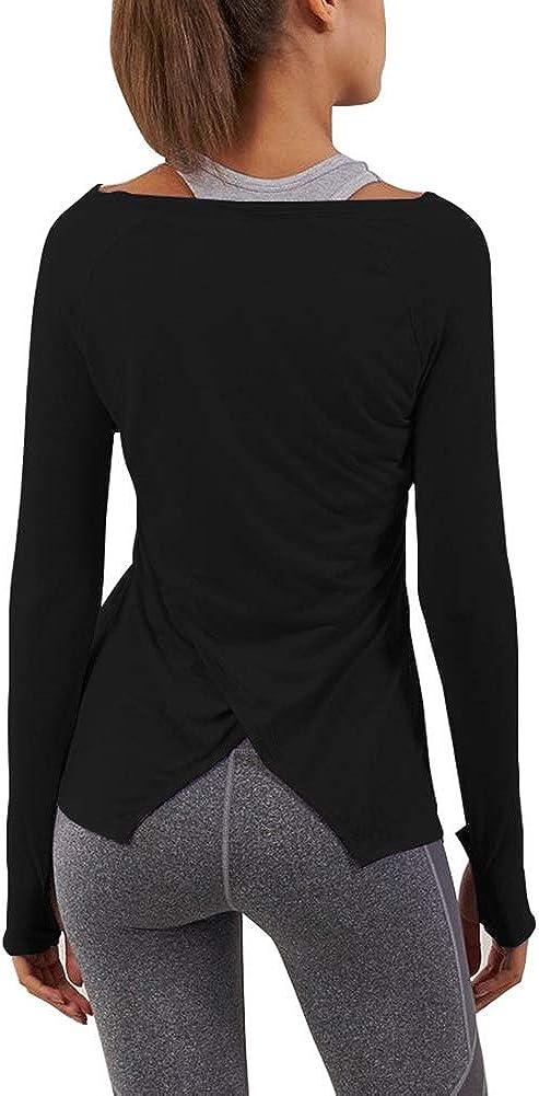 Bestisun Long Sleeve Yoga Workout Tops Lightweight Thumbhole Shirts Athletic Wear for Women