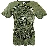 Guru-Shop Sure T-Shirt Mandala OM, Herren, Olive, Baumwolle, Size:L, Bedrucktes Shirt Alternative Bekleidung