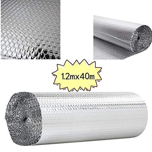 Panana High Quality Double Foil Single Bubble Wrap Aluminum Foil Insulation Roll for Wall Shed Loft Door Floor,1.2m*40m