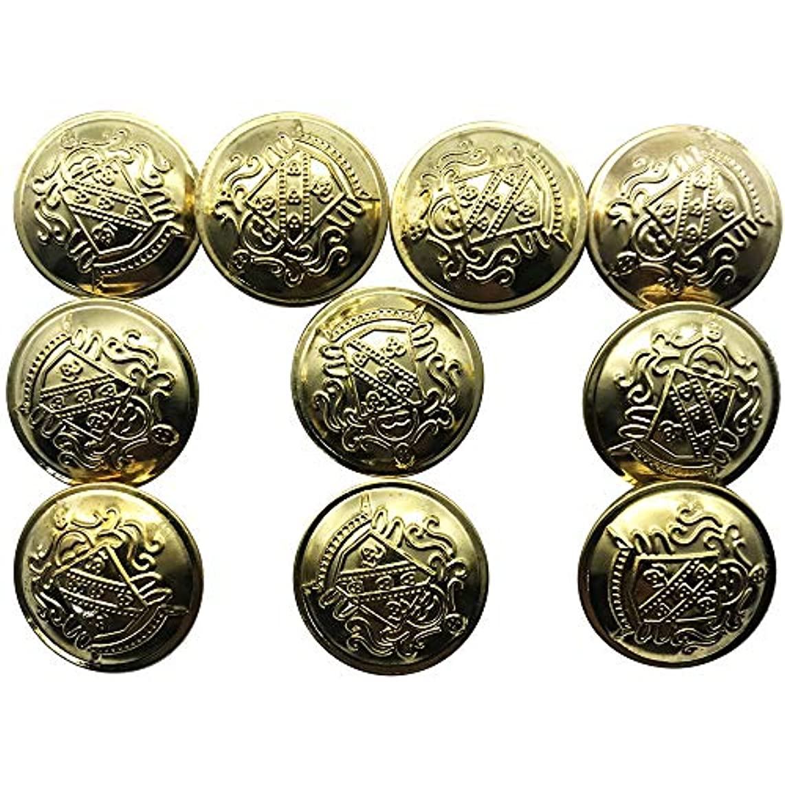 ZQMALL 10pcs Antique Gold Metal Blazer Buttons Set with Shank Measuring 1 inch for Blazers,Suits,Jackets, Q2048