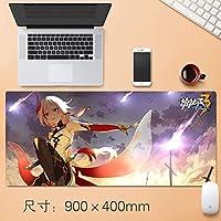 日本アニメHonkaiインパクト3マウスパッドマウスマットで縫製エッジ滑り止めラバーベースノートパソコンとPCの90 * 40センチメートル用の大型マウスパッド (サイズ: 3mm)