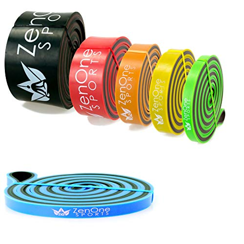 ZenBands Power Resistance Bands, Einzel-Fitnessband in 6 versch. Stärken zur Auswahl, Einzelwiderstandsband für Training Zuhause, Klimmzugband, inkl. E-Book & Workout-Guide (X-Light)