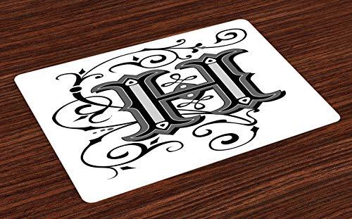 ABAKUHAUS letter H Placemat Set van 4, Klooster Kunstwerk H, Wasbare Stoffen Placemat voor Eettafel, Zwart Grijs Wit