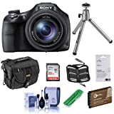 Sony Cyber-Shot DSC-HX400 Digital Camera, 20.4MP, 50x Optical Zoom, Bundle with 32GB Class 10 SDHC Card, Holster Case, Spare Battery, Cleaning Kit, SD Card Reader, Table Top Tripod, Screen Protector