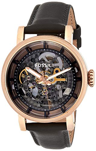 Fossil Women's Original Boyfriend Automatic Stainless Steel and Leather Casual Watch, Color: Rose Gold, Grey (Model: ME3089)