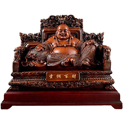 L.TSN Lachende Buddha-Statuen und Figuren für Wohnkultur, Glücksgott des Reichtums auf der Drachenstuhlskulptur des...
