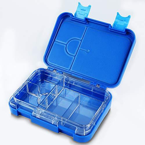 CLEVR PACKED Kinder Bento Box (blau) - praktische Brotdose mit herausnehmbaren Innenfächern - auslaufsicher & spülmaschinenfest