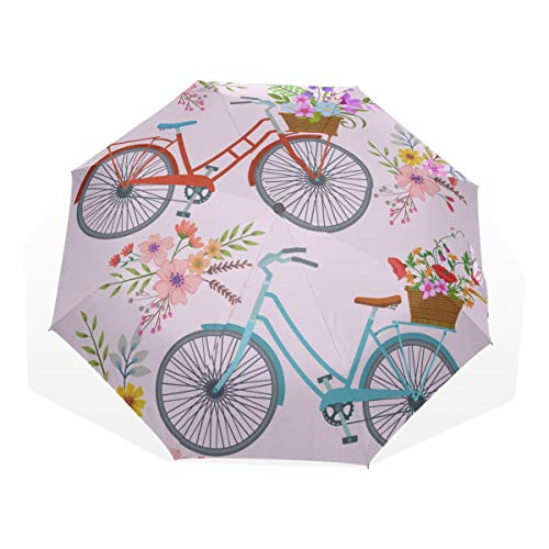 Kid Sun Umbrella Romantic Spring Flower Bicycle Basket 3 Fold Art Umbrellas(outside Printing) Best Folding Umbrella Umbrella Travel Windproof Womens Umbrella Compact