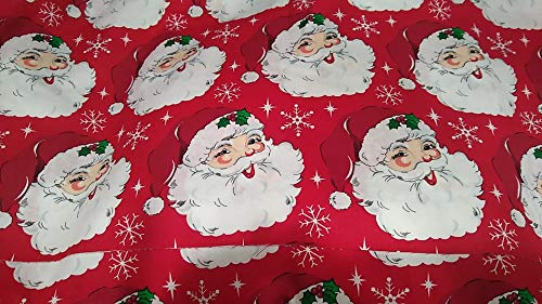 Winter Holiday Christmas Fabric 1/4 Yard Fat Quarters for face Masks Crafts Cotton (Santa Clause Holly Snowflakes)