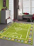 Merinos Kinderteppich Junge Kinderzimmer Teppich Fußball in Grün Größe 120x170