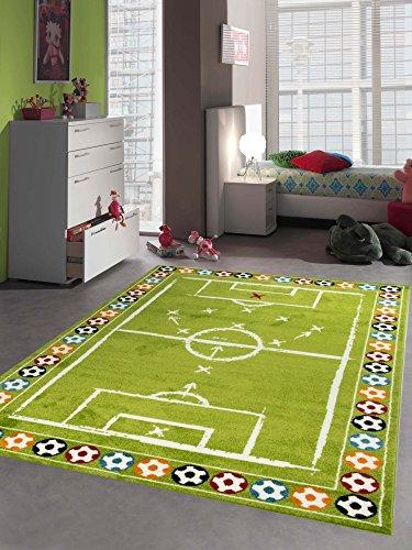 Merinos Kinderteppich Junge Kinderzimmer Teppich Fußball in Grün Größe 120x170 cm
