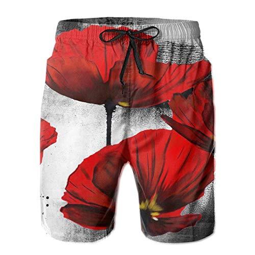 QUEMIN Mens Swim Trunks Beautiful Red Poppy Flower Art Men's Summer Beach Shorts, Quick Dry Athletic Trunks (Size M)