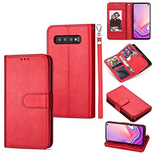 MKOKO Durable For la Galaxia de Samsung S10 + Ultra-Delgada 9 Horizontal de la Tarjeta de Cuero del tirón del Caso, con Las Ranuras for Tarjeta y el sostenedor y la Cuerda de Seguridad (Color : Red)