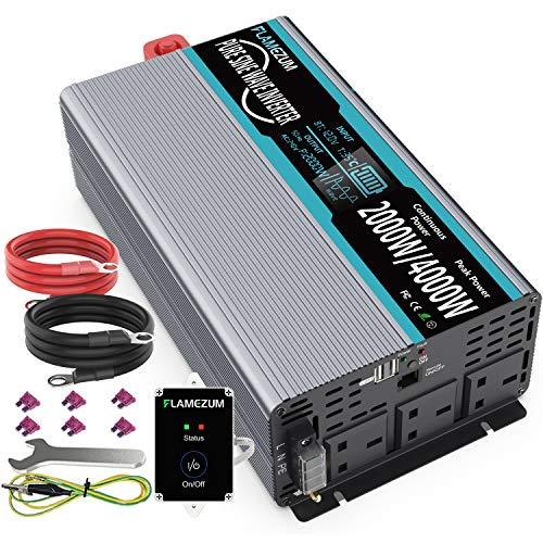 2000W Pure Sine Wave Inverter 12V DC to 230V/240V AC Converter - 2 AC Outlets,2...