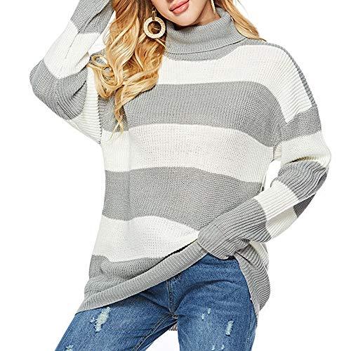 TINERS Womens coltrui streep lange mouwen gebreide trui dikke warme trui voor de herfst en winter, Off White,M