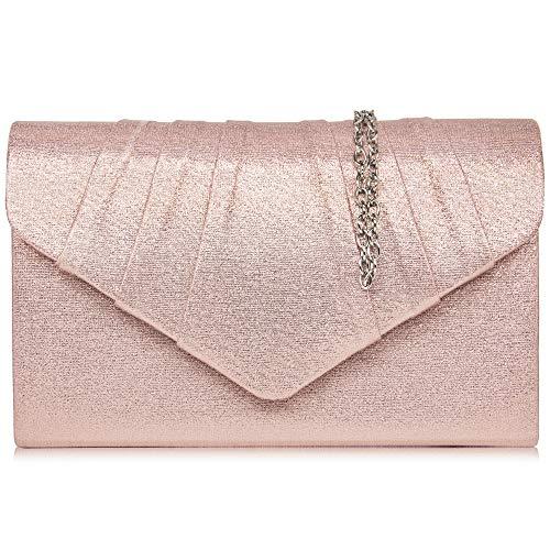 Milisente Clutch Damen, Elegante Wildleder Clutch Umschlag Crossbody Klassisch Clutch Tasche Abendtasche (Rose Gold)