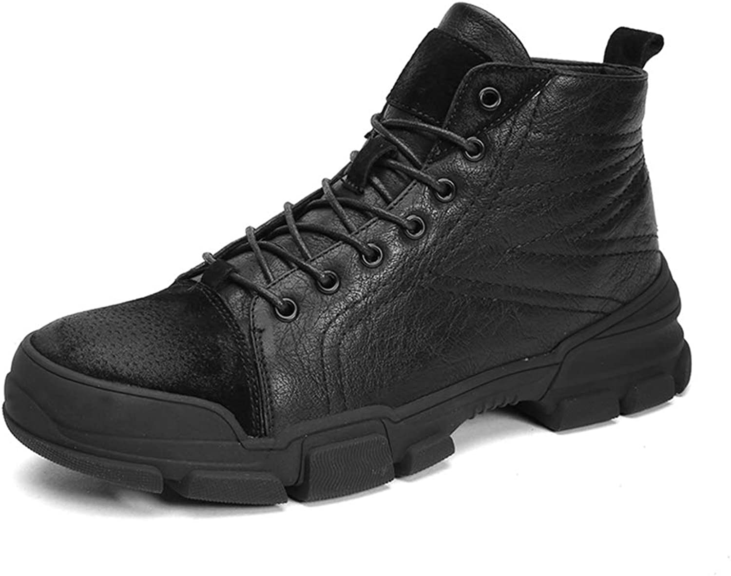 Men's Fashion Ankle Work Boot Casual Simple and Comfortable Classic Winter Faux Fleece Inside High Top Boot
