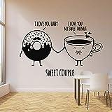 N / A Tienda de golosinas calcomanía de Pared de Alimentos Donut Cup Dulce Pareja Etiqueta de la Pared Cita Vinilo Restaurante Cocina decoración 63x42cm