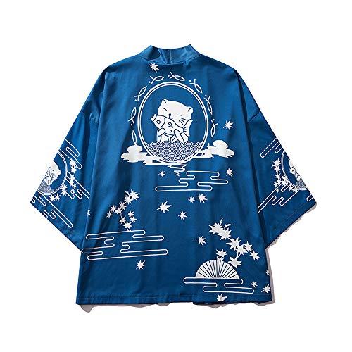 LAI MENG Damen Lose Kimono mit Japanisches Muster 3/4 Arm Cover up Leichte Jacke EU 34-46