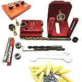 LIANGANAN Aluminio agujero de ocultación de perforación del taladro de tacos Jig + colocación de la placa de la madera de carpintería Herramientas 90x80x78mm Conjunto de Carpintería (Color : Set C)
