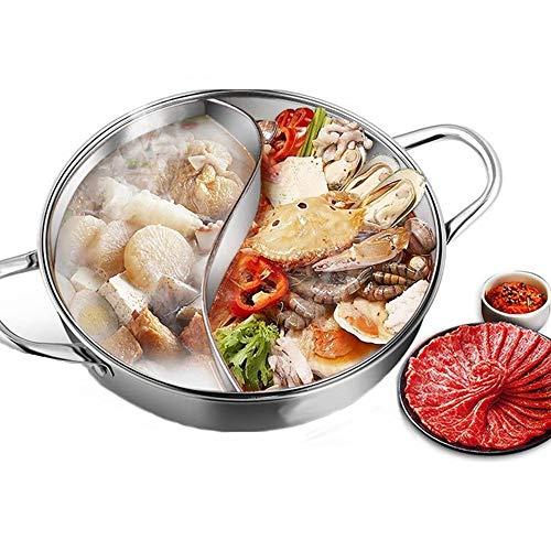 QKQB Topf mit 2 Kammern Edelstahl Hot Pot Wok Für Induktionsherd, Gasofen, Elektroofen (32cm/12.60in)