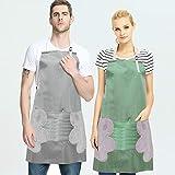 FAVENGO 2 Pcs Delantal de Cocina Mujer Mandiles de Cocina Impermeables Delantal de Chef de Tela Oxford con Bolsillos Grandes y Vellón Coralino Absorbente para Cocina Artesanales Jardinería