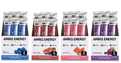 Optimum Nutrition Amino Energy Multipack - Pre Workout with Green Tea, BCAA, Amino Acids, Keto Friendly, Energy Powder - Grape, Fruit Fusion, Blue Raspberry and Watermelon (24 Count, 6 per Flavor)