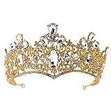 ZHANGYY Couronnes De Cristal Et Diadèmes Fer Perle Gâteau Décoration Noce Coiffe Bandeau pour Prom Mariée,Yellow