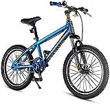 N&I Kids Mountain Bikes High-Carbon Steel Hardtail Anti-Slip Bike Dual Disc Brake Mountain Trail Bike Boys Girls Alpine Bicycle