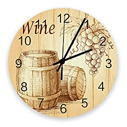 Modern Wall Clock Decor, Drawing Grape Wine Barrel, Large Wall Clocks(Silent) for Living Room/Bathroom/Kitchen, Battery Operated Indoor Outdoor Wood Round Wall Decorative, 12inch, Wood Grain