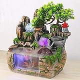 Fuente para habitación con efecto de atomización y cambio de color, iluminación LED, peces dorados, cascada de agua, resina, decorativa, meditación zen